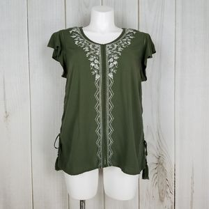 Time and Tru | Boho Green Embroidery Peasant Top